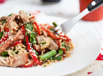 Fried rice with sesame beef and vegetables
